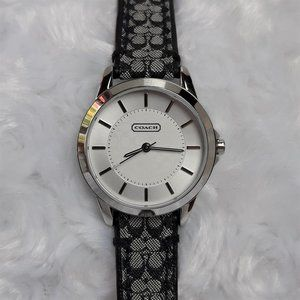 Coach Classic Signature Strap Watch Silver/Black